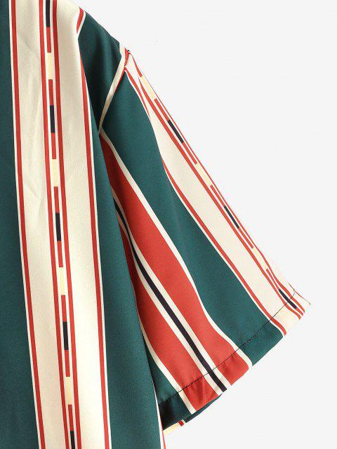 Knopf Gemischte Kontrast Streifen Hemd - Lava Rot XL Mobile