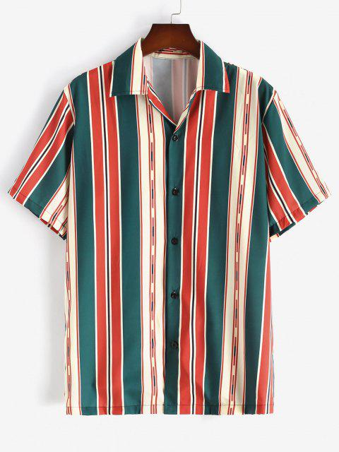 online Button Up Mixed Contrast Stripes Shirt - LAVA RED L Mobile
