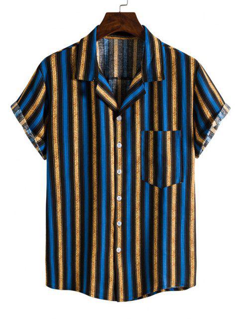 sale Contrasting Stripe Short Sleeve Shirt - BLUE L Mobile
