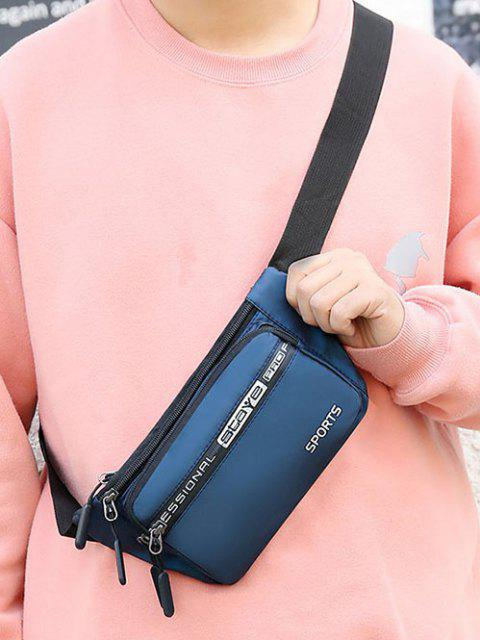 shops Letters Sports Waterproof Waist Bag - BLUE  Mobile