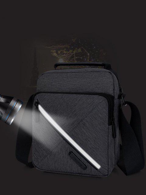 コントラストジップスクエアショルダーバッグ - ブラック  Mobile
