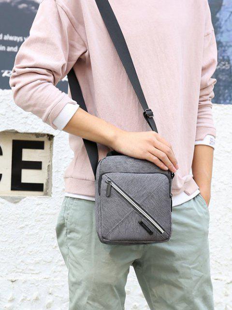 affordable Contrast Zip Square Shoulder Bag - GRAY  Mobile