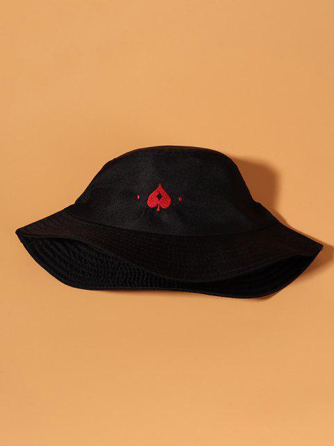 Lässige Gestickter Herz Bucket Hut - Schwarz  Mobile