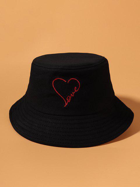 trendy Embroidery Heart Love Pattern Bucket Hat - BLACK  Mobile