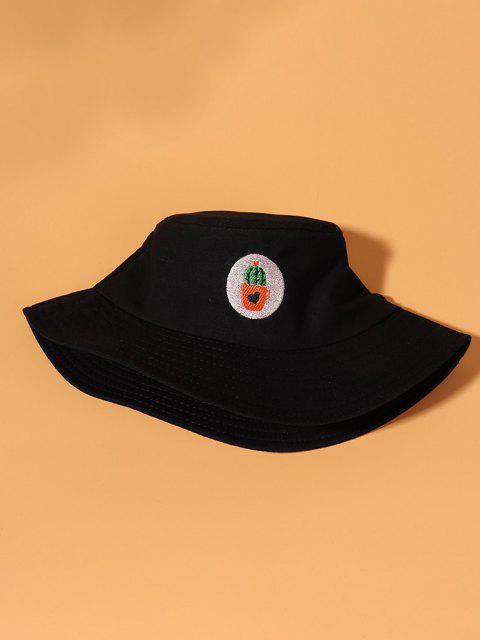 Cappello da Pescatore da Secchio con Ricamo di Cactus - Nero  Mobile