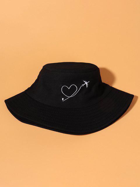 飛行機ハート刺繍バケット帽子 - ブラック  Mobile