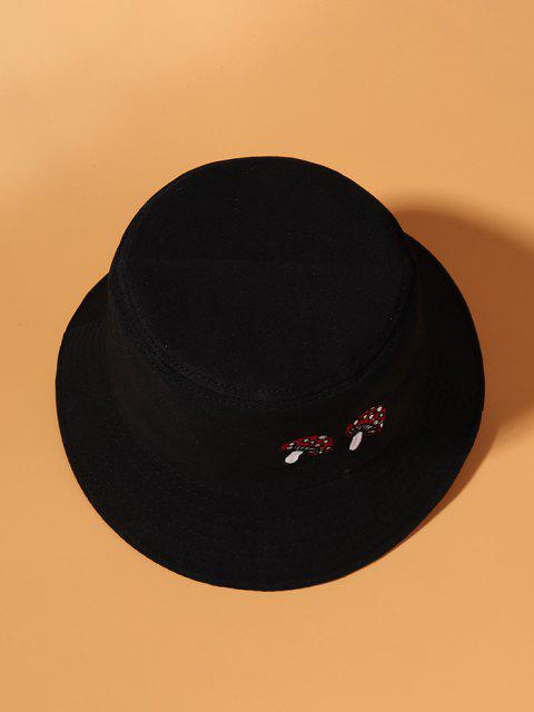 unique Mushroom Embroidery Bucket Hat - BLACK  Mobile