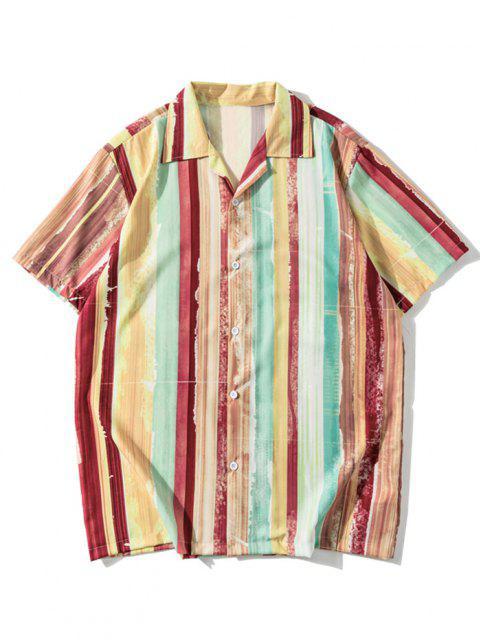 Button Up Lapel Painting Striped Shirt - الكرز الاحمر XL Mobile