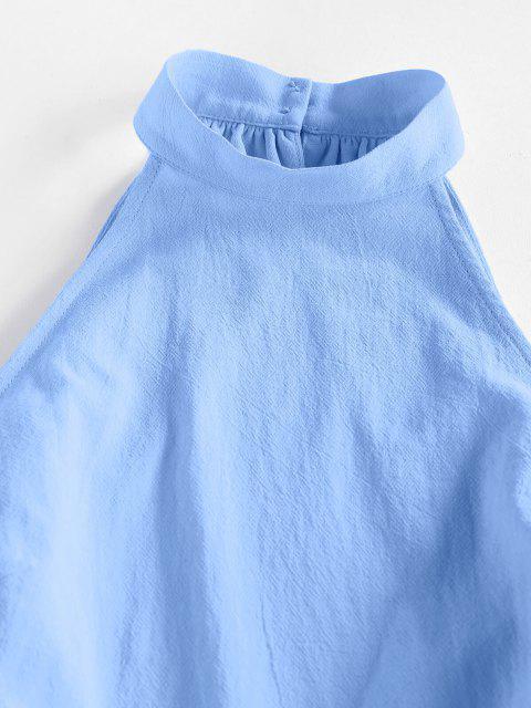 women ZAFUL Open Back Cutaway Mock Neck Romper - LIGHT BLUE M Mobile