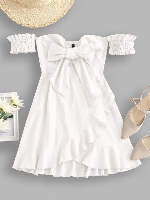 lady Off Shoulder Ruffle Smocked Tie Front Dress - WHITE S Mobile