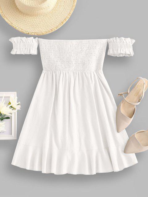 Schulterfreies Kleid mit Rüschenkrawatte - Weiß M Mobile