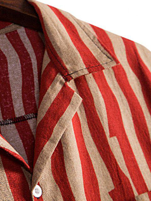 fancy Irregular Stripe Short Sleeve Shirt - RED XXXL Mobile