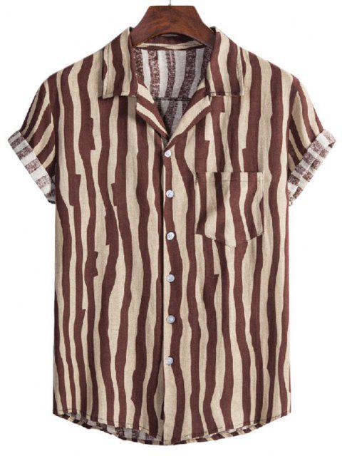affordable Irregular Stripe Short Sleeve Shirt - COFFEE M Mobile