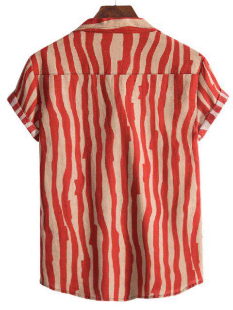 fancy Irregular Stripe Short Sleeve Shirt - RED M Mobile