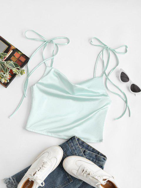 lady Tie Shoulders Cowl Neck Cami Top - GREEN S Mobile