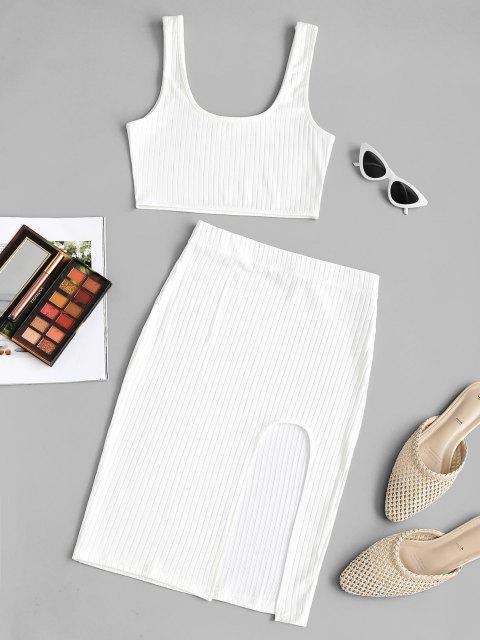 Breite Rippen Split Oberschenkel Zweiteiliges Kleid - Weiß M Mobile