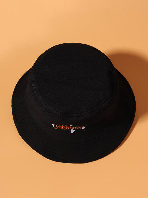 women's Valentines Heart Pattern Embroidered Bucket Hat - BLACK  Mobile
