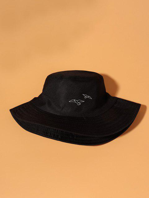 lady Pigeons Embroidered Bucket Hat - BLACK  Mobile