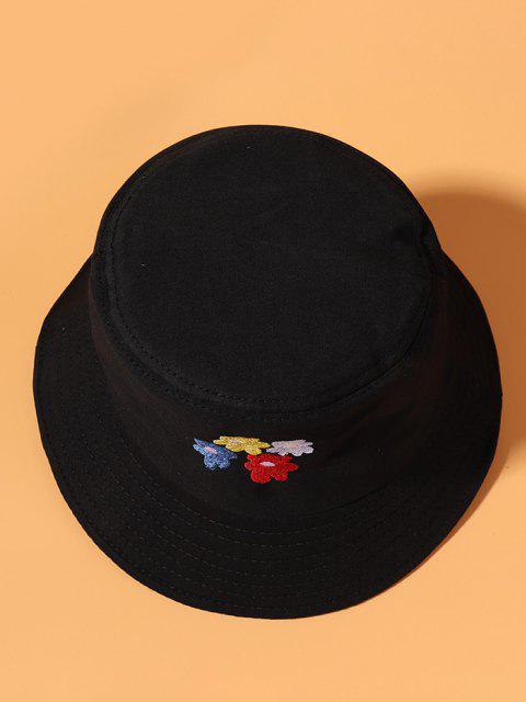 Chapeau Seau Motif de Fleur Brodé - Noir  Mobile