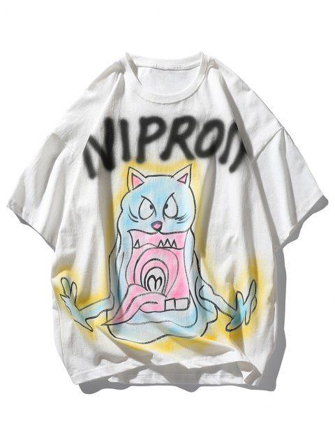 shop Letter Cat Devil Print Drop Shoulder T Shirt - WHITE L Mobile