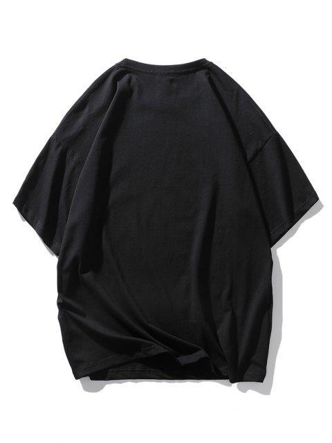 Cartoon Cow Print Drop Shoulder T Shirt - أسود L Mobile