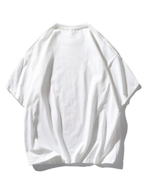 Camisola Ombro com Impressão de Vaca dos Desenhos Animados - Branco L Mobile