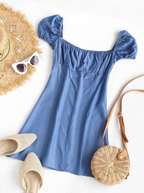 Chambray Kleid mit Geknöpften Manschettenärmeln - Blau XL Mobile