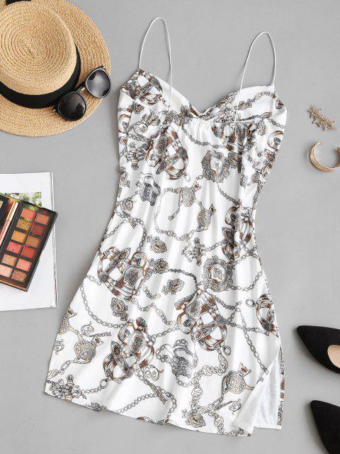 online Baroque Chain Print Side Slit Cowl Neck Dress - MULTI M Mobile