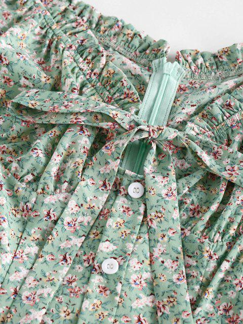 outfits ZAFUL Ditsy Floral Frilled Bowknot Milkmaid Dress - LIGHT GREEN S Mobile