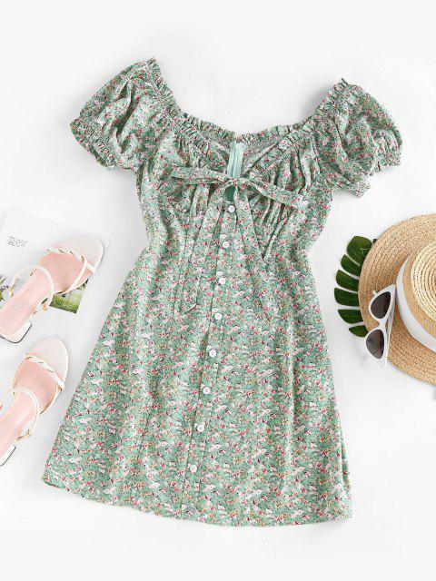 shop ZAFUL Ditsy Floral Frilled Bowknot Milkmaid Dress - LIGHT GREEN M Mobile