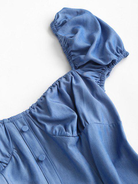 Vestido Chambray Manga de Soplo y - Azul S Mobile