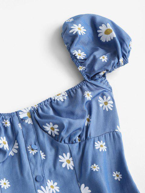 Vestido Manga Campana Estampado Chambragarita - Azul S Mobile