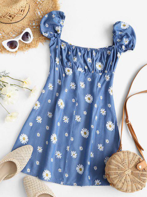 Chambray Gänseblümchendruck Puff Ärmel Milkmaid Kleid - Blau XL Mobile