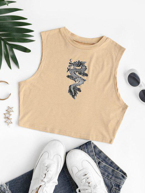 womens Chinese Dragon Print Crop Tank Top - LIGHT COFFEE L Mobile