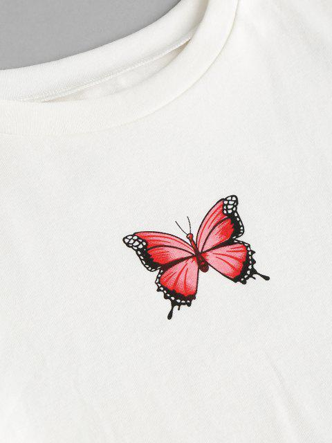 buy Cropped Butterfly Print Tee and Plaid Skirt Set - RED M Mobile
