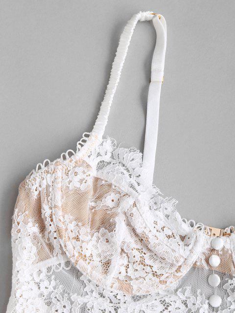 outfit Lace Picot-trim Underwire Bralette Top - WHITE M Mobile