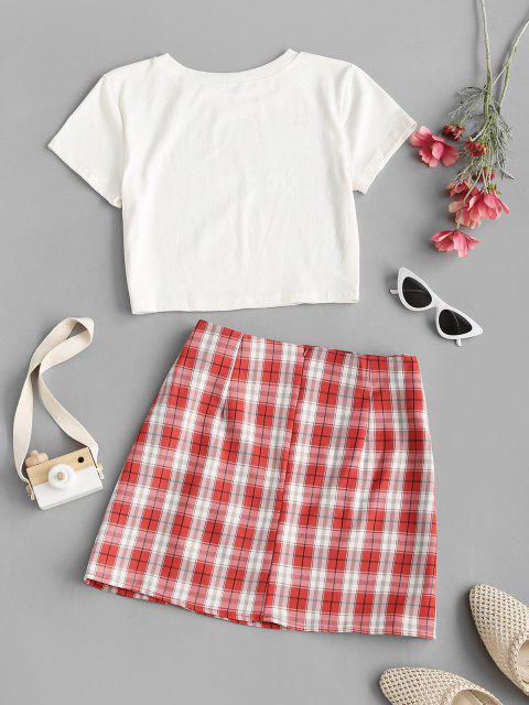 latest Cropped Butterfly Print Tee and Plaid Skirt Set - RED L Mobile