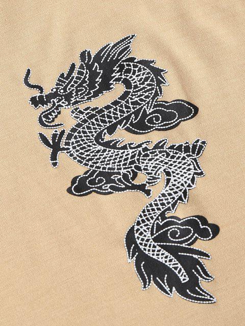 womens Chinese Dragon Print Crop Tank Top - LIGHT COFFEE S Mobile
