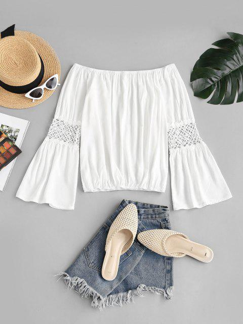 outfit Off The Shoulder Guipure Lace Panel Flare Sleeve Blouse - WHITE M Mobile