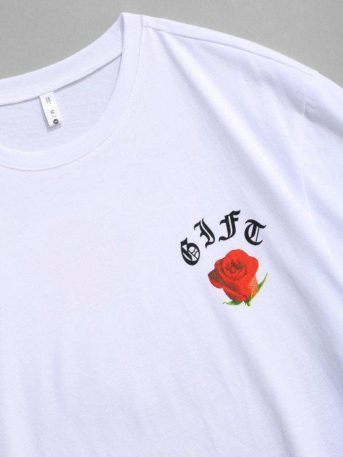 T-Shirt con Grafica di Rosa - Bianca S Mobile