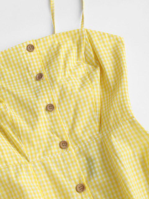 affordable Cutout Checked Button Dress - YELLOW L Mobile
