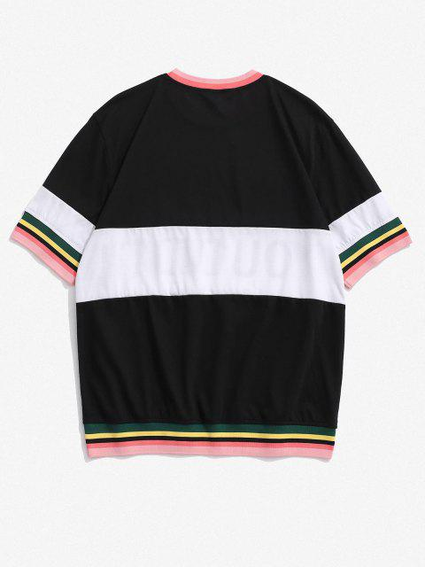 trendy You Did It Contrast Stripe Short Sleeve Tee - BLACK M Mobile