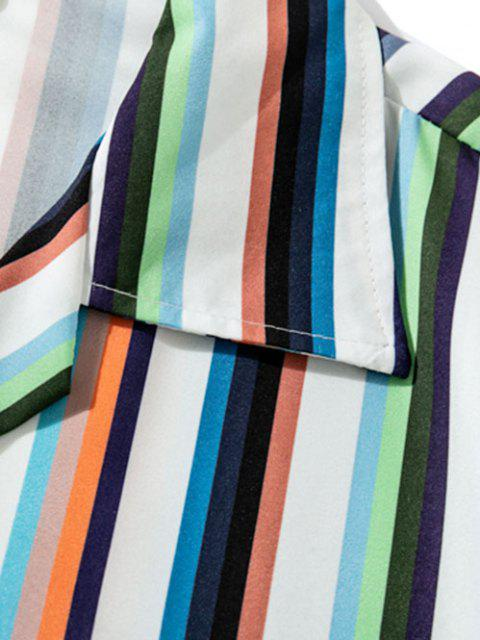 unique Multicolored Stripe Casual Short Sleeve Shirt - LAPIS BLUE L Mobile