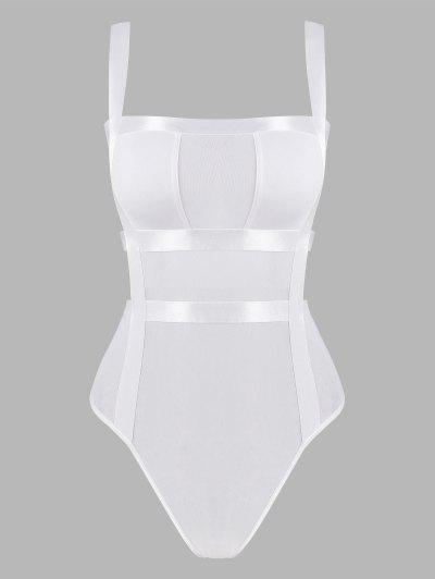 Traje Bodysuit De Vendaje Con Detalle Escotado De Escalera - Blanco S