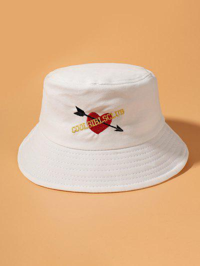 Graphic Heart Embroidered Bucket Hat - White