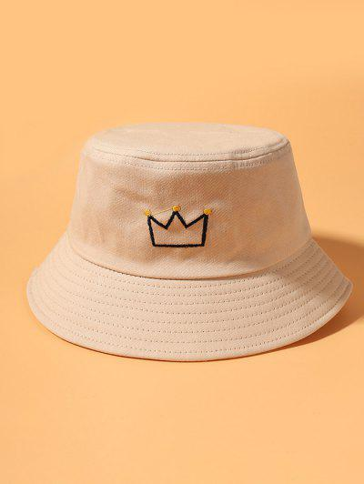 Crown Embroidered Bucket Hat - Beige