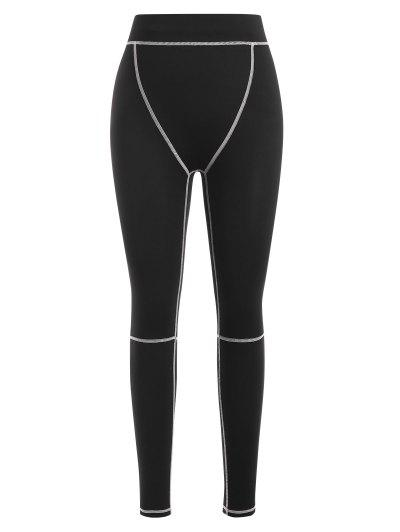 Contrast Stitch Leggings - Black S