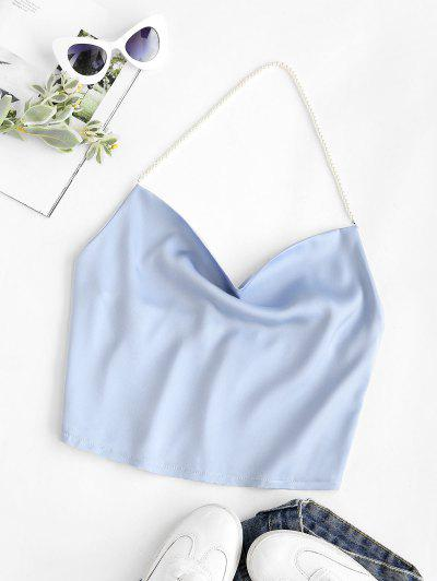 Faux Pearl Halter Cowl Neck Backless Top - Light Blue M