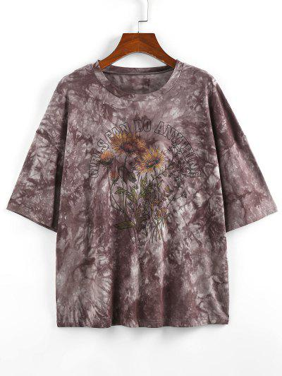 ZAFUL Sunflower Slogan Tie Dye Drop Shoulder T-shirt - Gray S