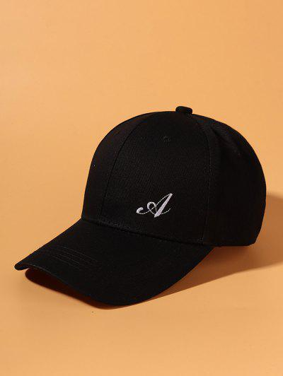 Side Letter A Embroidery Baseball Cap - Black